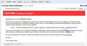 youtube suspension notice
