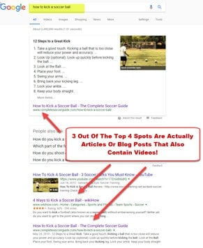 Search google for blog posts with videos in the results