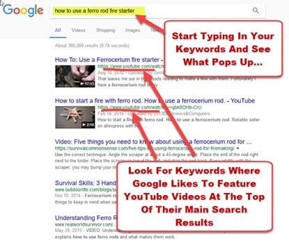 start your YouTube keyword research on google